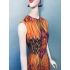 Vintage maxi jurk (60s/70s) met plooirok ( MT M)