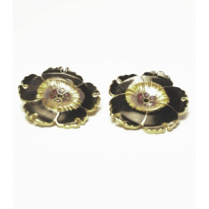Vintage Emaile cloisonne oorclips decor bloemen