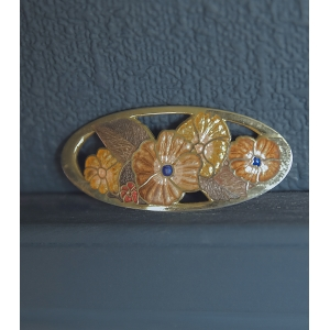Vintage Emaile cloisonne broche decor bloemen