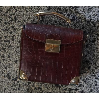 Vintage tas mini koffer leer