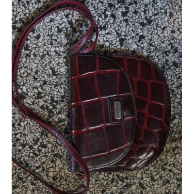 Vintage tas leer bordeaux rood