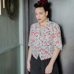 Vintage blouse met fantasie print (MT M/L)