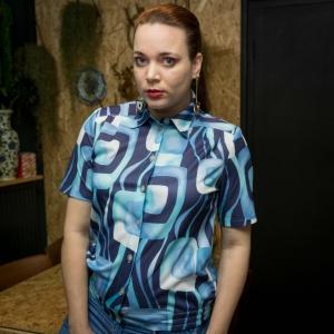 Vintage blouse met psychedelische print (MT M)