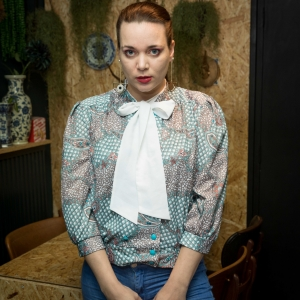 Vintage blouse met strik (MT M/L)