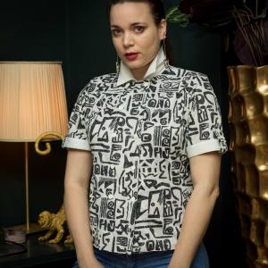 Vintage blouse met speels patroon (MT M)