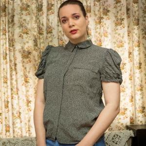 Vintage blouse met pofmouwen (MT M)