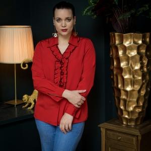 Een geweldige vintage blouse met roesels (MT M)