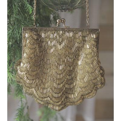 Luxe kralen tas (goud)