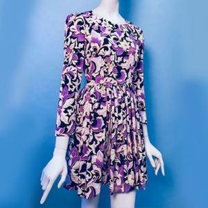 Vintage mini jurk ( 60s/70s) met speels patroon ( MT XS)