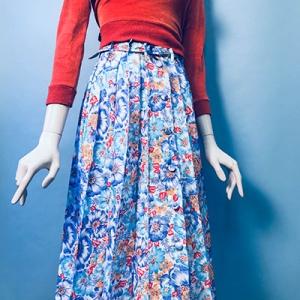 Vintage rok (60s/70s) geplooid met bloemenpatroon ( MT S)