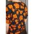 Vintage top/ blouse met patroon van fantasiebloemen (MT S/M)