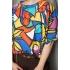 Katoenen vintage top/blouse met abstracte print (MT M/L)