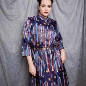 Vintage doorknoop jurk met speelse print (MT M)