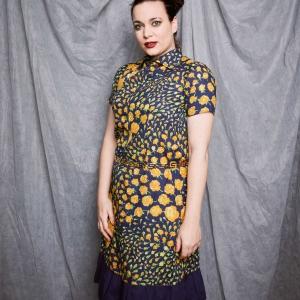 Vintage jurk met patroon van gele roosjes (MT M)