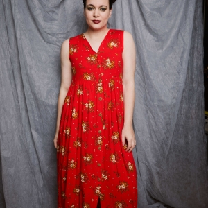 Zomerse vintage doorknoop jurk (MT M)