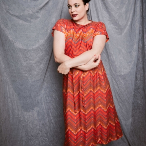 Vintage jurk met speelse zig - zag print (MT M)