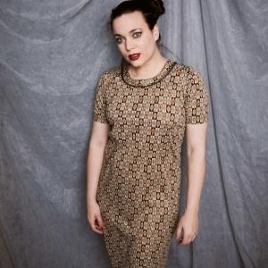 Vintage jurk met speelse print (MT M)