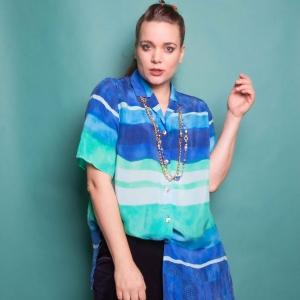 Vintage blouse met speels patroon van cupro (kunstzijde) MT L-XL