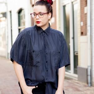 Vintage blouse 100% zijde (MT L)