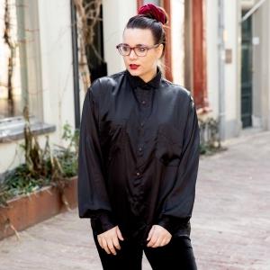 Luxe zwarte vintage blouse met glans (MT L/XL)