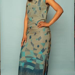 Vintage maxi jurk (60s/70s) met speels patroon (MT L)