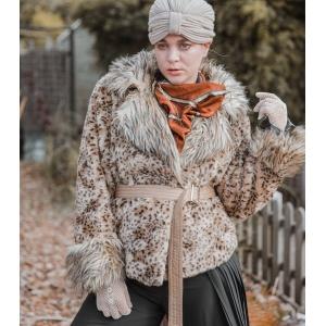 Balmain fake fur jas met panter-print ( MT M/L)