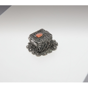 Vintage sieraden doosje met ingelegde steen
