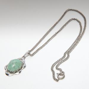 Vintage ketting plus hanger met ingelegde steen ( groen)