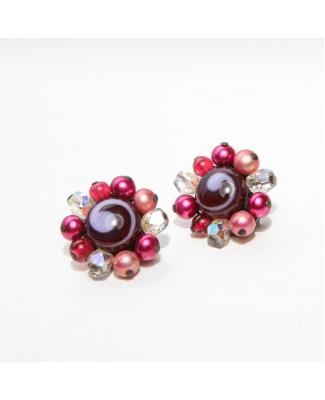 Vintage clip oorbellen (50s/60s) met kraaltjes in roze-wit