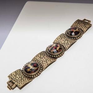 Statement armband met stenen met luipaardprint