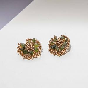 Vintage clip oorbellen luxe met groene edelsteen