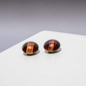 Vintage clip oorbellen bruine steen