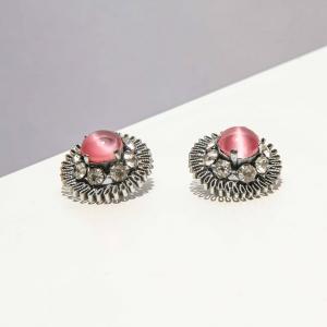 vintage oorclips zilver met roze