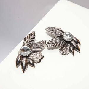 Vintage statement oorclips oud zilver- kleurig