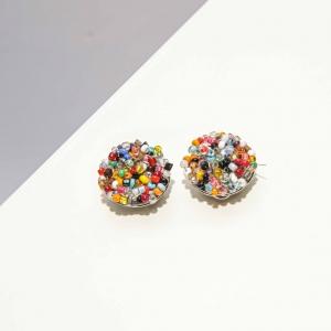 Vintage clip oorbellen met gekleurde kraaltjes