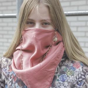Mondkapje zijde roze