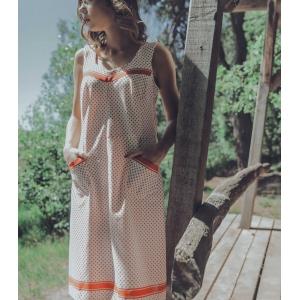 vintage polkadot jurk/ overgooier ( MT M/L)