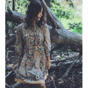 Vintage jurk (60s/70s) met rijk patroon ( MT S/M)