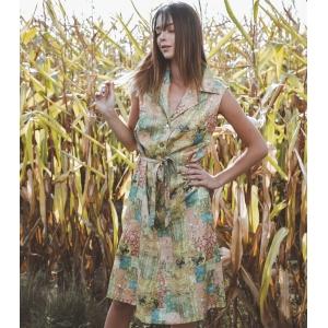Vintage jurk (60s/70s) met fantasie print ( MT S/M)