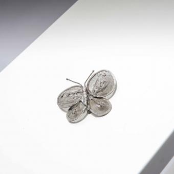 Vintage broche zilveren vlinder
