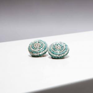Vintage clip oorbellen in zachte turquoise tint ( 50s/60s)