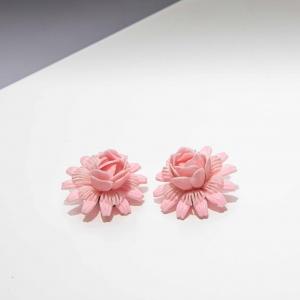 Vintage clip oorbellen roze bloem (50s/60s)