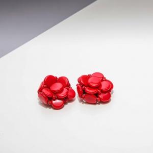 Vintage oorclips rode bloemvorm ( 50s/60s)