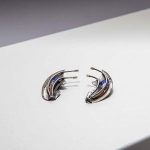 Vintage oorclips art deco - zilverkleurig