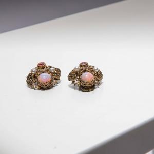 Vintage clipoorbellen luxe roze- goudkleurig ( 50s/60s)