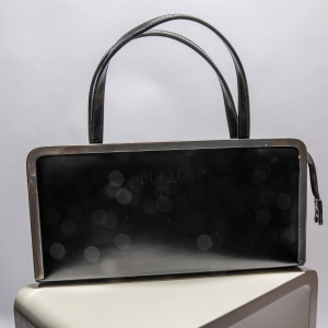 Vintage donker-blauwe Bulaggi tas met 'metalen omlijsting'