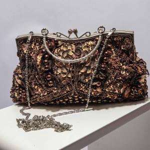 vintage tas met bruine kralen en pailletten