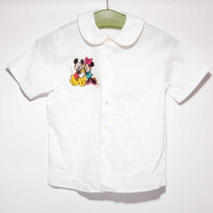 Vintage blouse met brede kraag en Mickey en Mini Mouse patch ( 5 - 6 jaar)