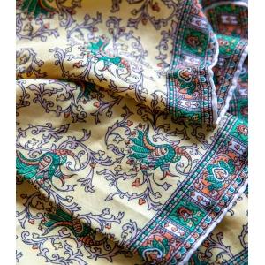 Vintage luxe sjaal volledig van zijde ( geel-groen)