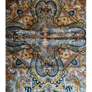 Vintage sjaal ( extreem groot) met luxe print zijde - wol mix